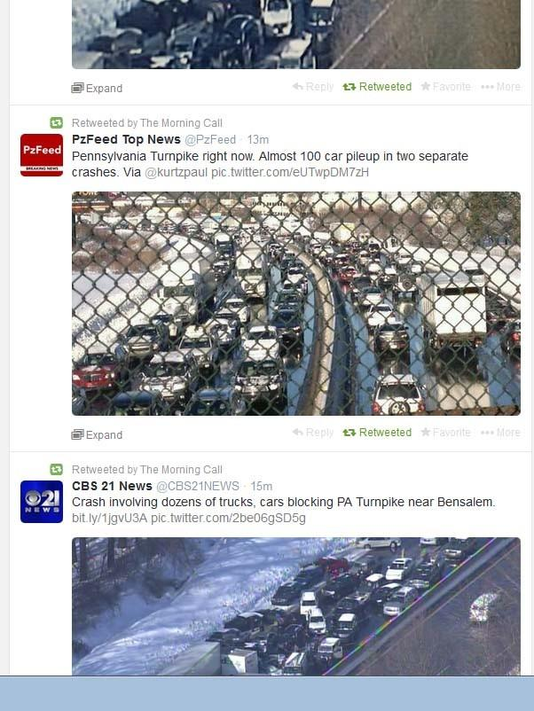 This screen grab from Twitter shows multiple accidents on the PA Turnpike, including a pileup that may involve as many as 100 vehicles.