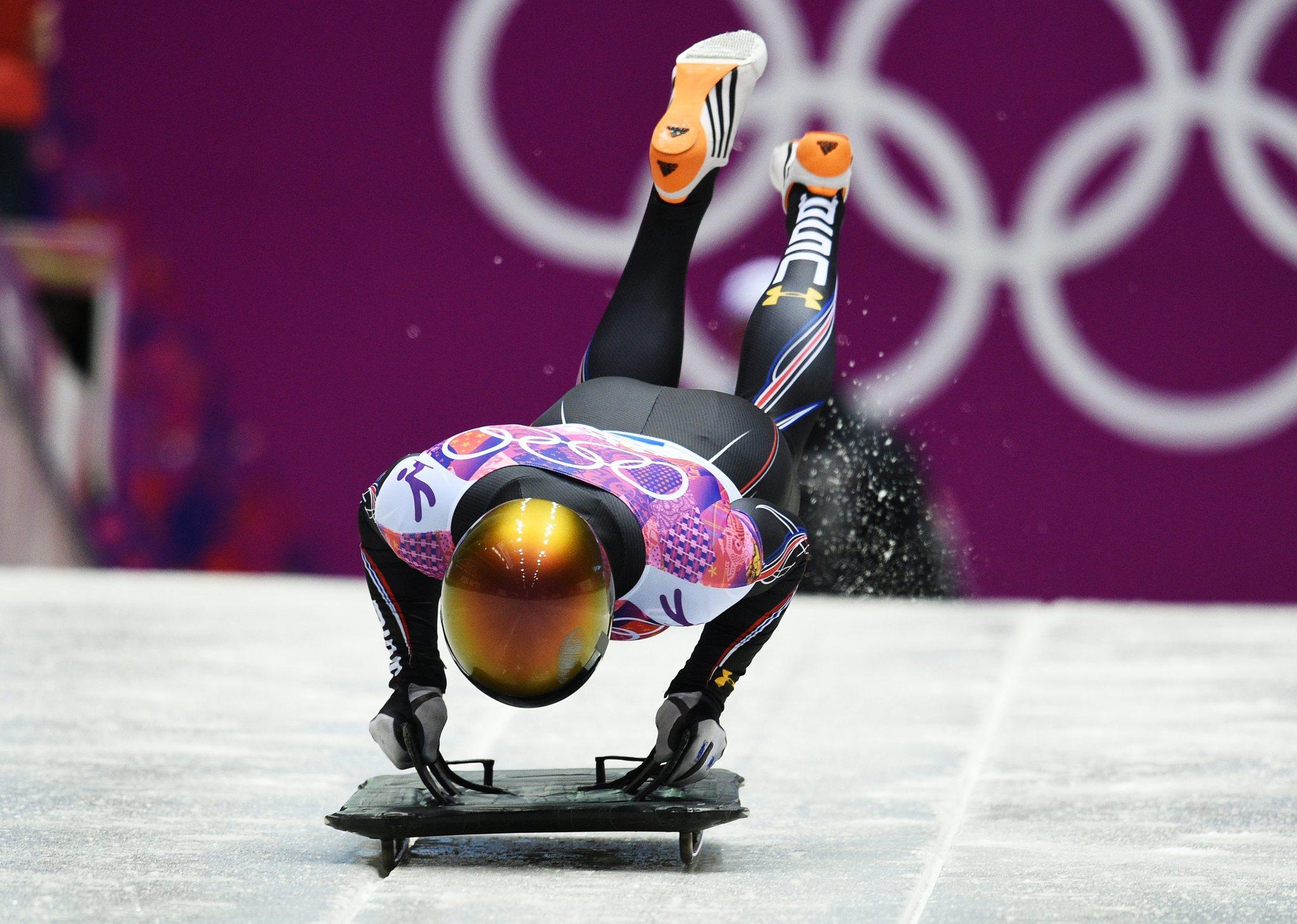 U.S. skeleton racer John Daly competes Friday at the Winter Olympics.