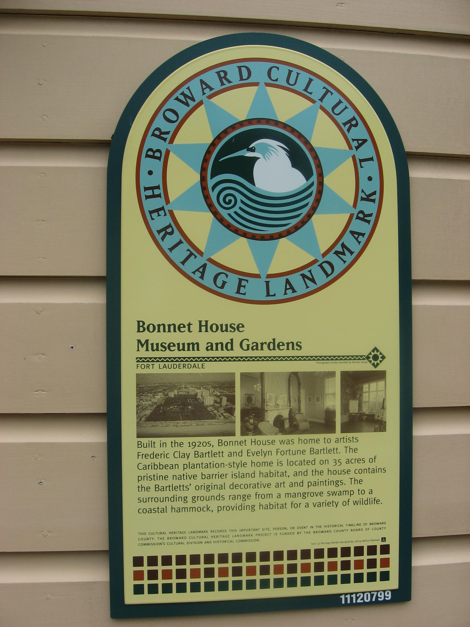 Historical landmark signage at Bonnet House Museum and Gardens in Fort Lauderdale.