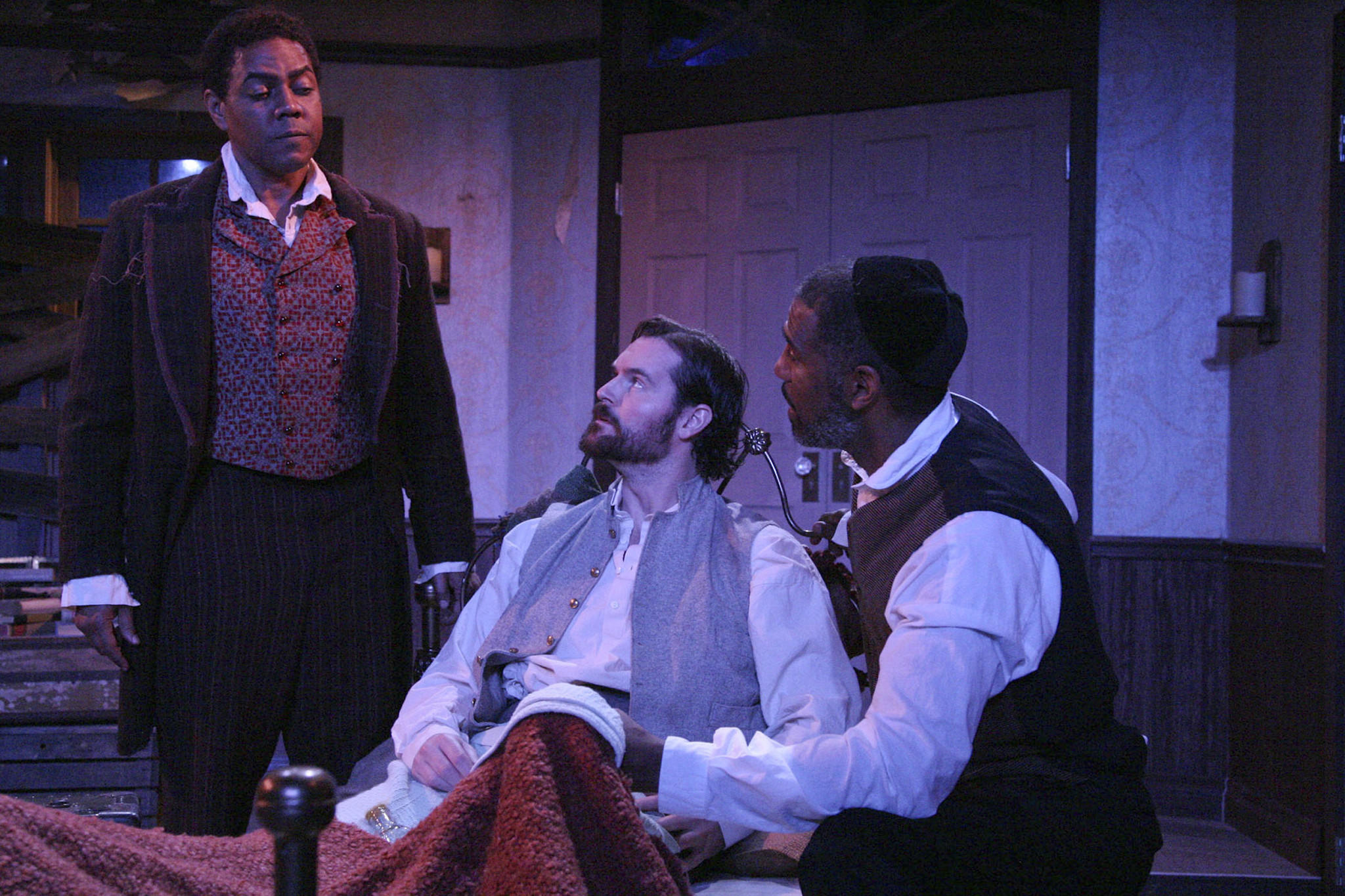 L to R, Kirk Kelleykahn, Shawn Savage and Ricco Ross in 'The Whipping Man,' a West Coast Jewish Theatre production at the Pico Playhouse.