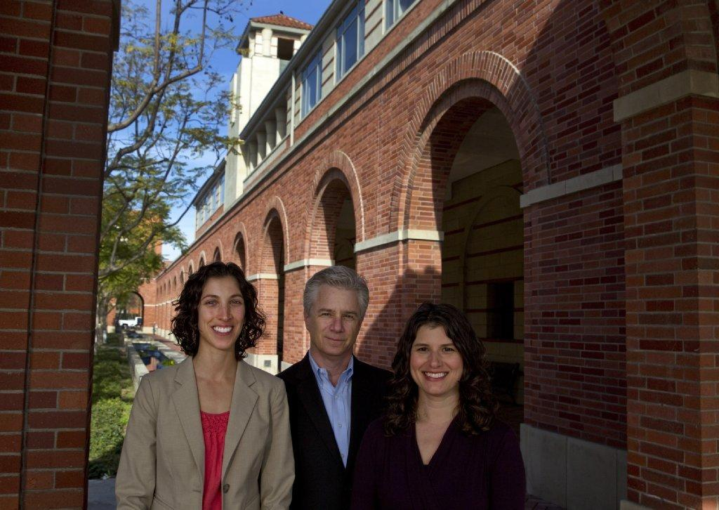 From left: Jessica Levine, program director, Adlai Wertman, founding director and professor of clinical entrepreneurship, Abby Fifer Mandell, executive director, stand outside Popovich Hall at USC Wednesday, Feb. 12, 2014. USC moves ahead with plans to start what it thinks will be the nation's first one year Master's program on social entrepreneurship based at a business school, teaching business savvy to those with social causes.