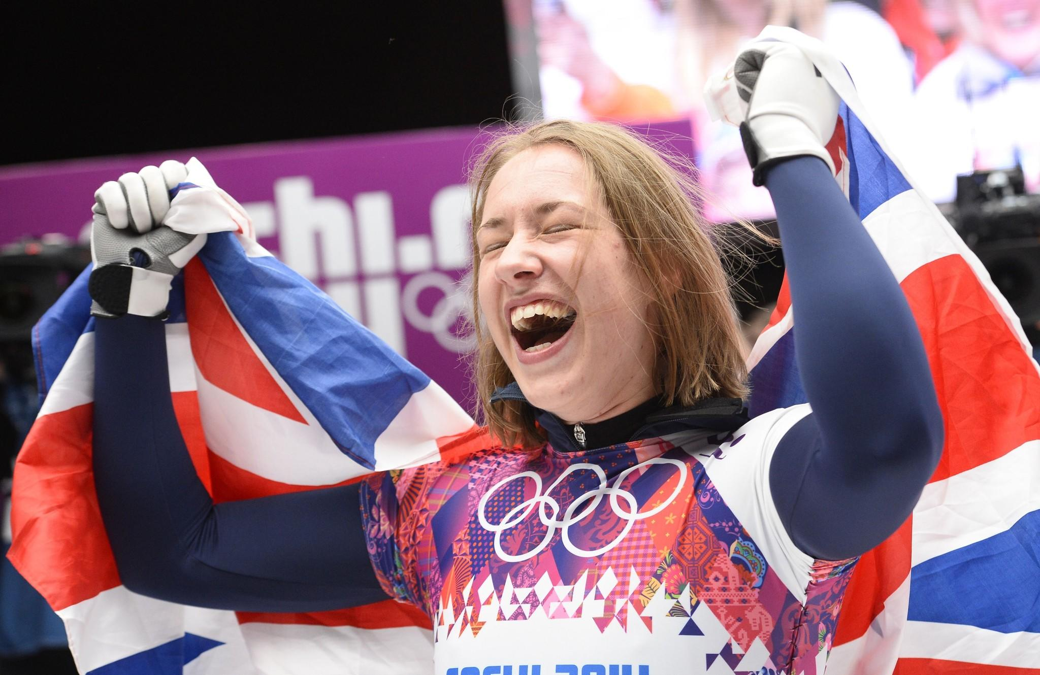 Great Britain's Elizabeth Yarnold celebrates winning gold in the women's skeleton race Friday.