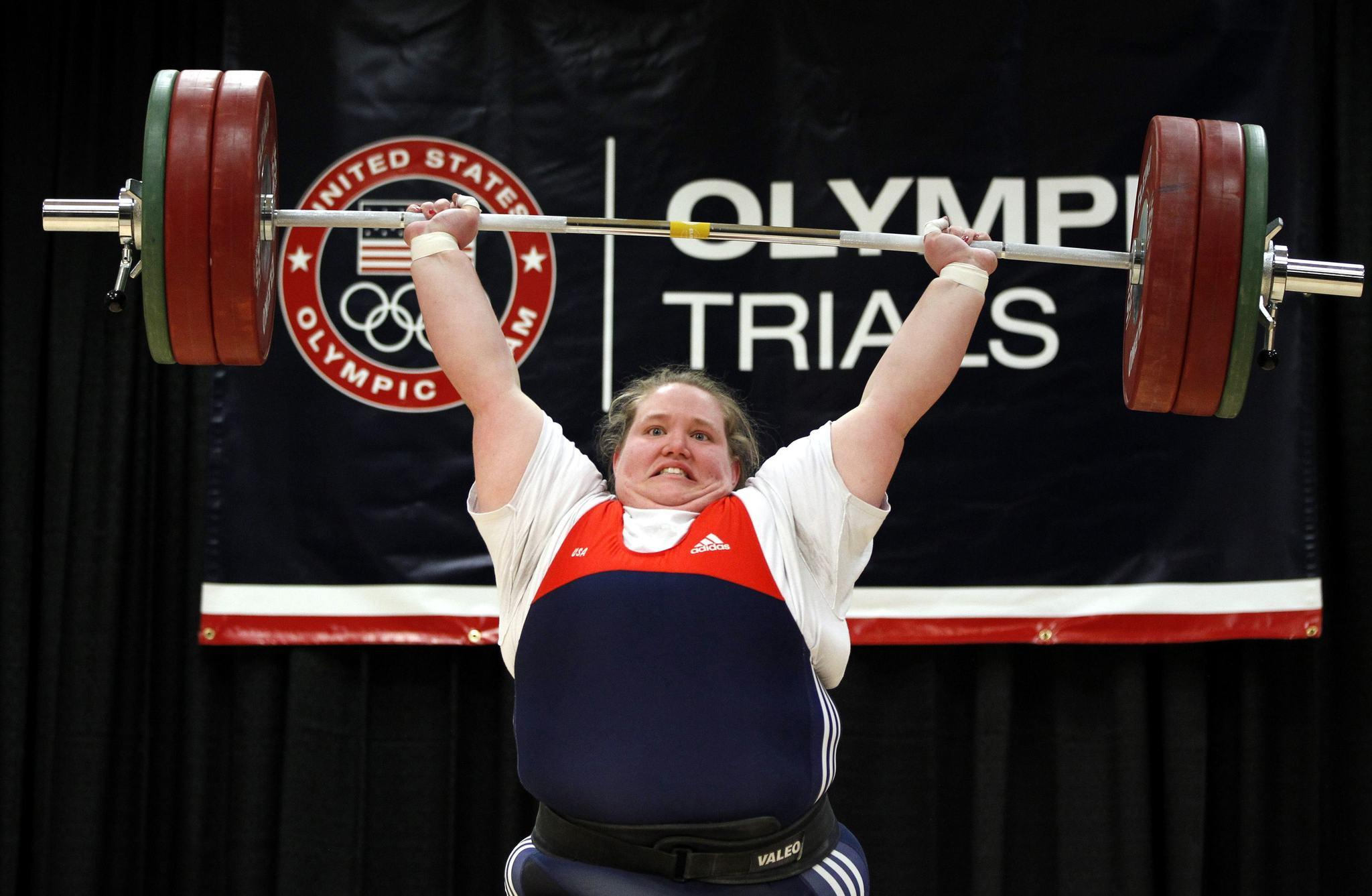 Holley Mangold of the U.S. performs her 145 kg weightlifting clean and jerk lift during the 2012 U.S. Olympic Trials at the Arnold Sports Festival in Columbus, Ohio, March 4, 2012.