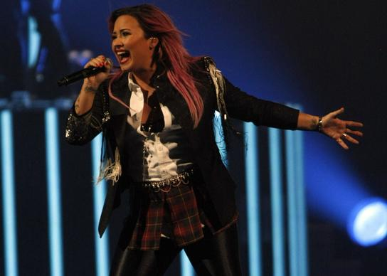 Demi Lovato performs for a soldout crowd at Honda Center in Anaheim.