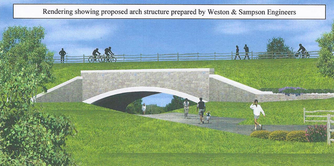 A concrete arch, 54 feet long and 40 feet wide, will continue the trail and connect Center Springs Park to Broad Street.