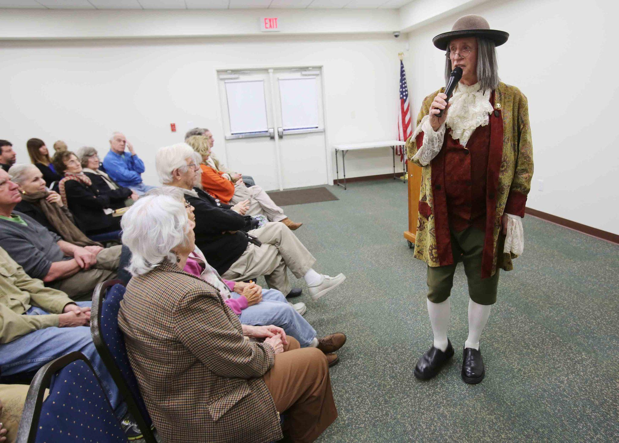 Rich Davis portrays Ben Franklin during a performance at the W.T. Bland Public Library in Mount Dora on Friday, January 29, 20145.