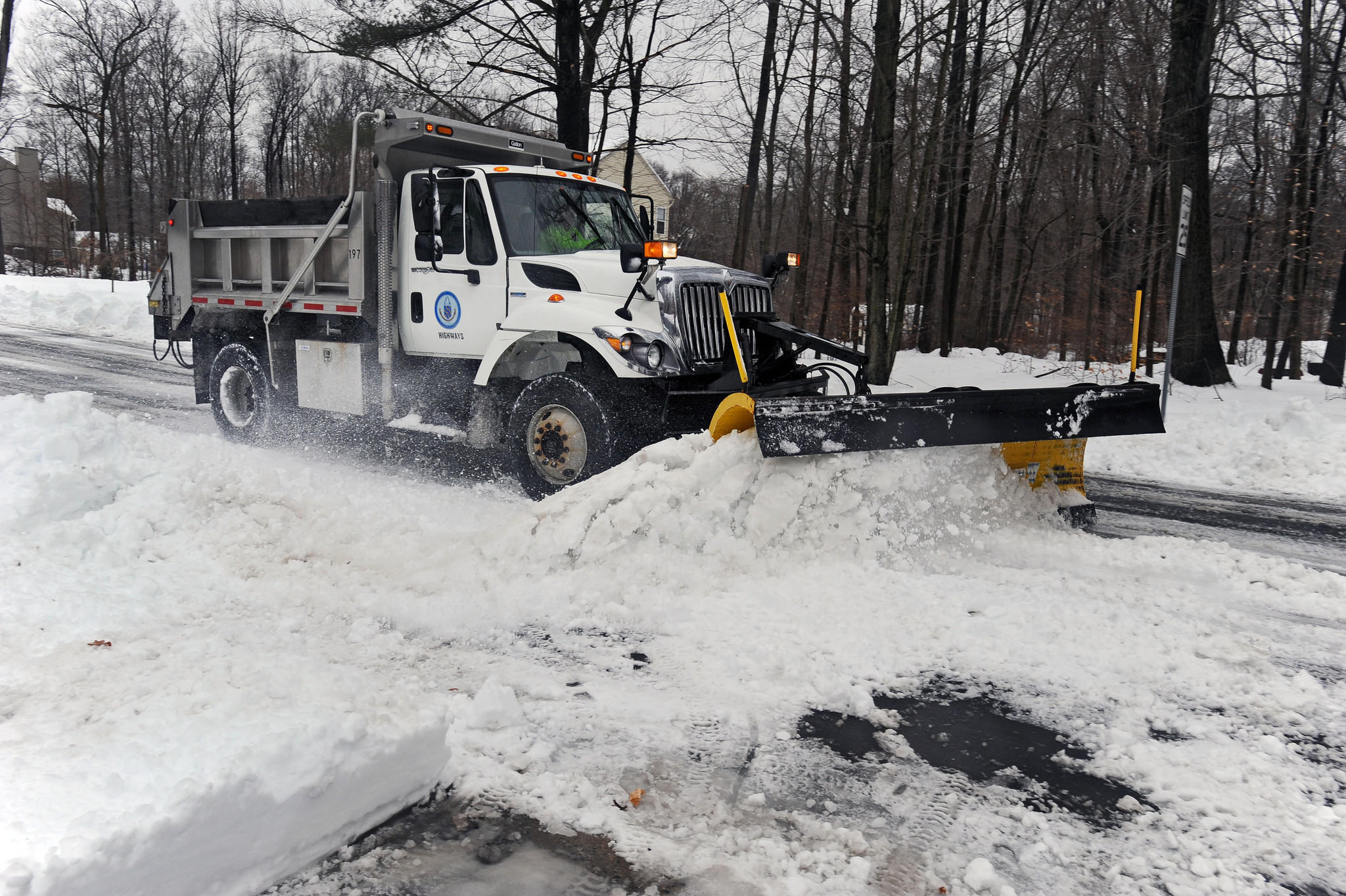 Harford County snow plow clears secondary roads in the Fallston area during Thursday's storm.