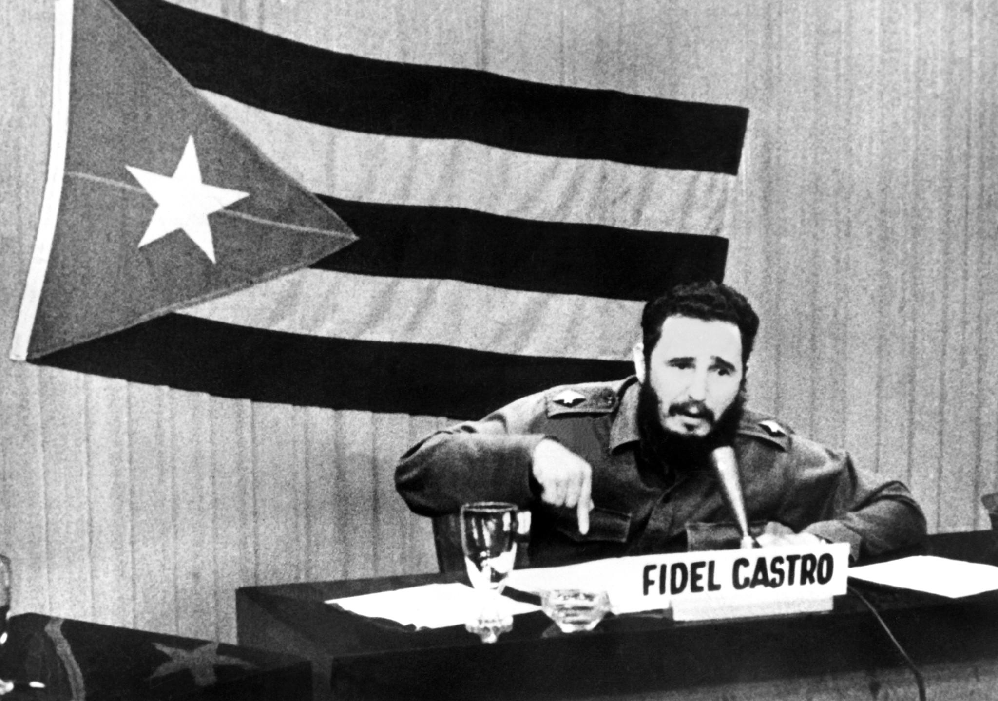 (FILES): This circa October 22, 1962 file photo shows Cuban President Fidel Castro giving a speech during the Cold War Cuban Missile Crisis. Fifty years after the Cuban missile crisis, Havana remains virulently hostile to the United States, which reciprocates by maintaining a crippling economic embargo against the communist-ruled Caribbean island. AFP PHOTO / FILES-/AFP/GettyImages ORG XMIT: