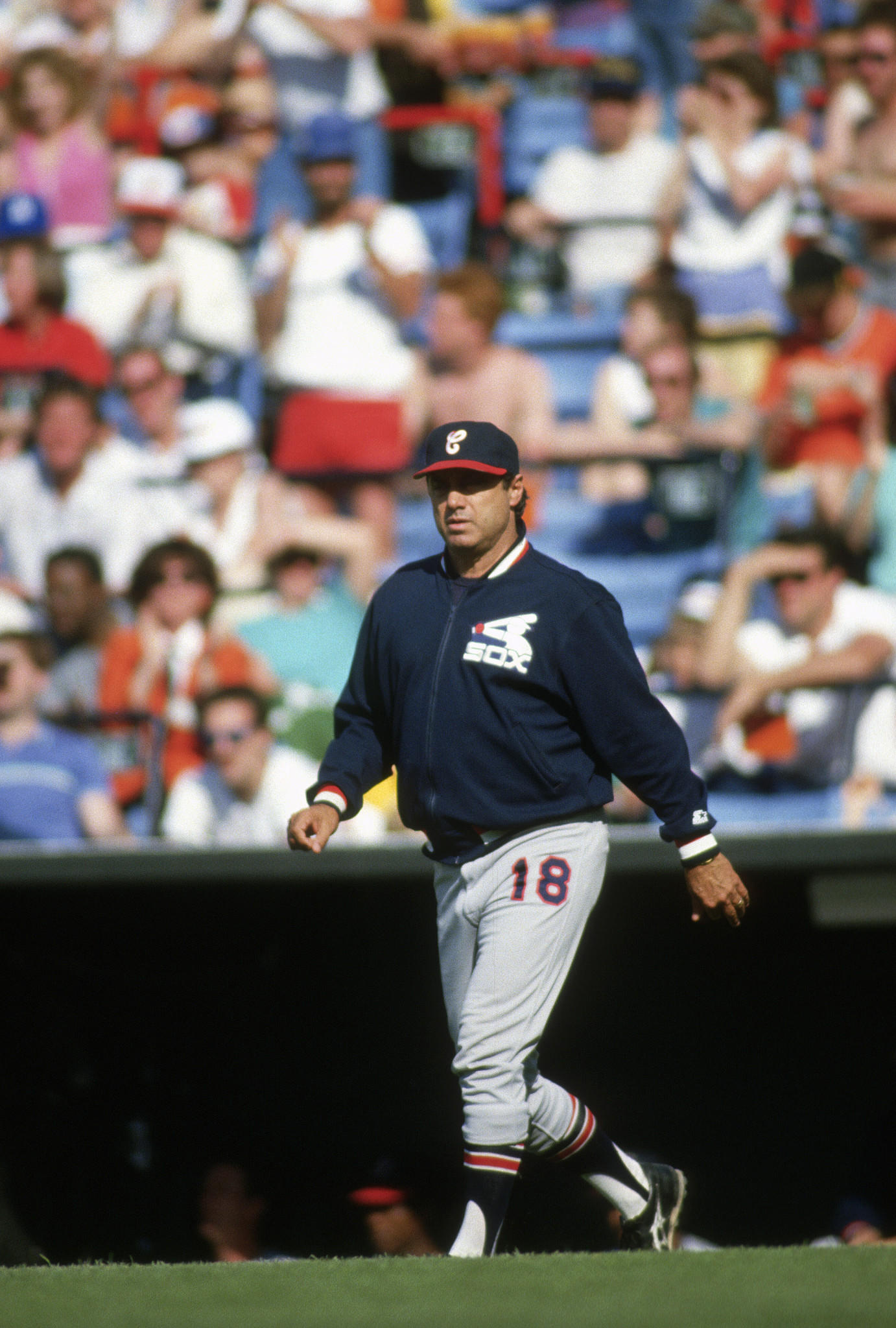 CIRCA 1986: Manager Jim Fregosi (18) of the Chicago White Sox walks out to the mound to make a pitching change during a Major League Baseball game against the Baltimore Orioles at Memorial Stadium in Baltimore, Maryland. Fregosi managed the White Sox from 1986-88.