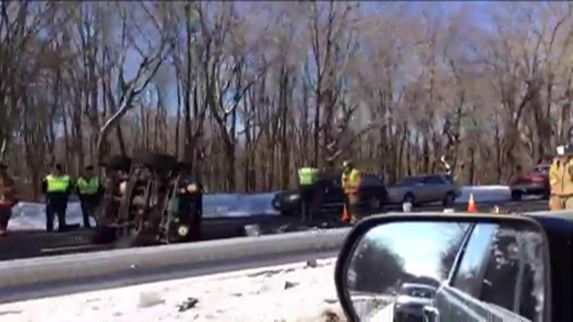 A 7-year-old boy was killed in this rollover crash on Route 15 in Wallingford on Friday afternoon.
