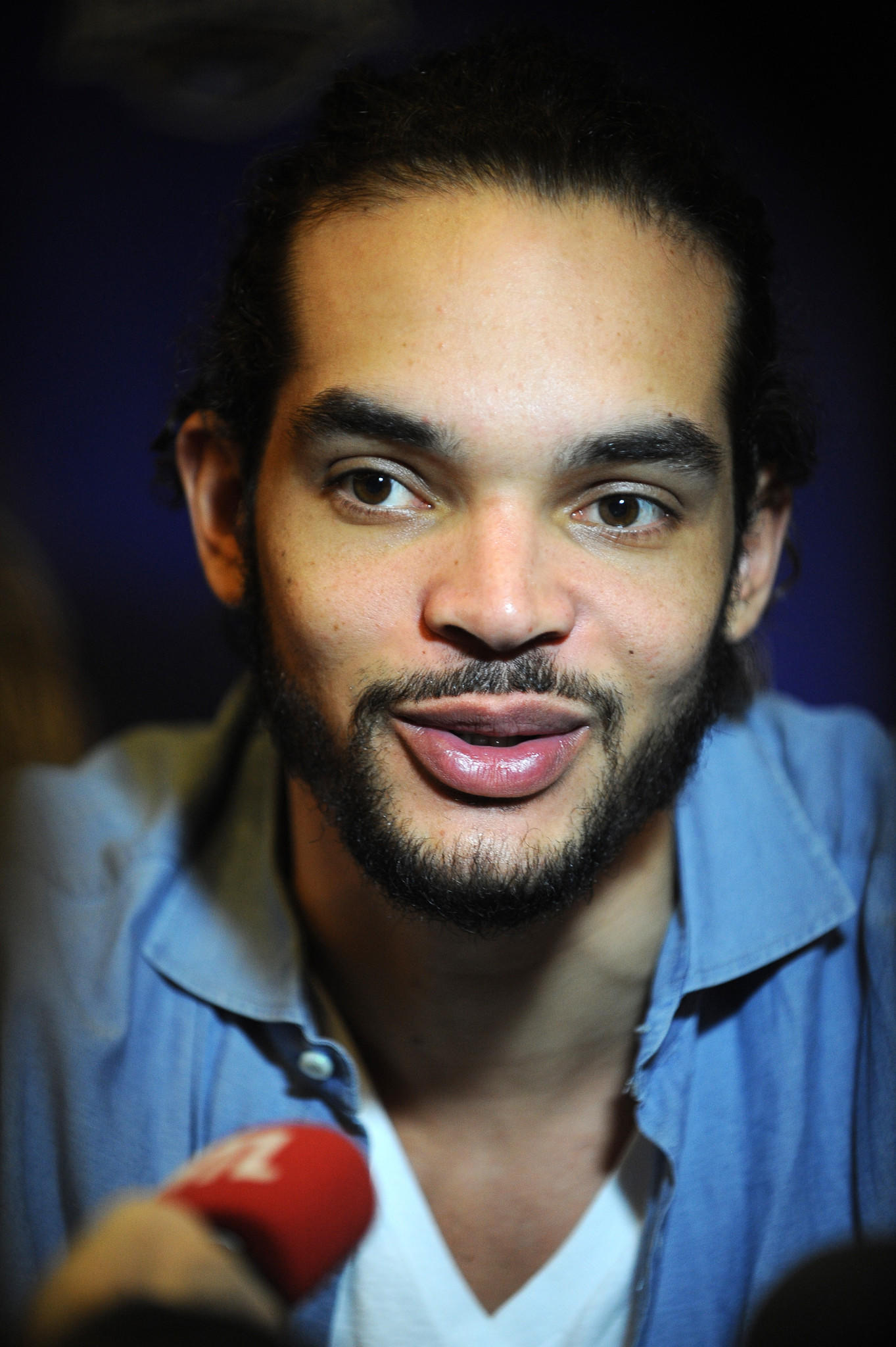 Joakim Noah answers questions during NBA All-Star Press Conferences and Media Availability as part of 2014 All-Star Weekend at the Hyatt Regency Hotel on February 14, 2014 in New Orleans, Louisiana.
