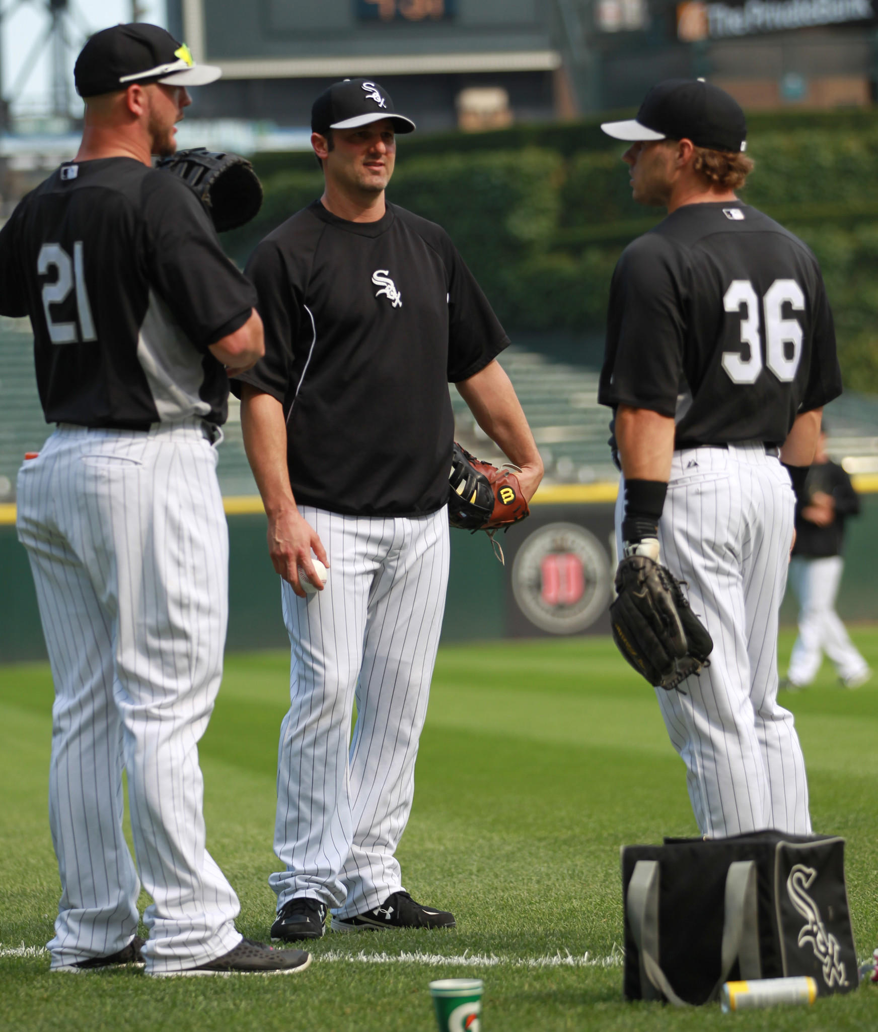 Chicago White Sox' Tyler Flowers, Paul Konerko and Josh Phegley before playing Detroit Tigers in MLB game at US Cellular Field in Chicago on Monday, July 22, 2013.