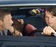 (L-R) Sean Bean, Sophia Bush and Zachary Knighton in 'The Hitcher'