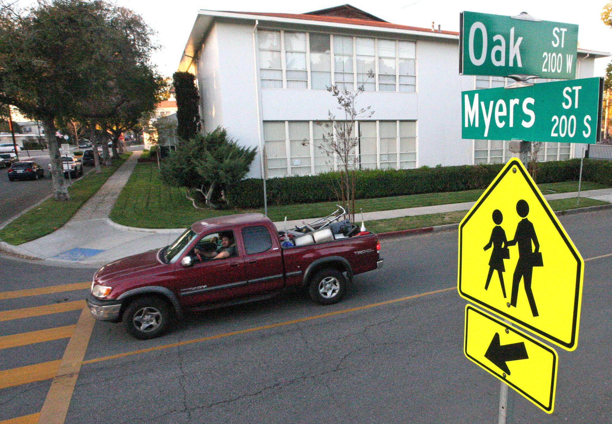 The Burbank City Council on Tuesday approved a four-way stop sign at Oak and Myers Streets near St. Finbar school, where there is currently only a two-way stop sign, at the request of parents of children who attend the school.