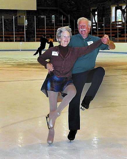 WEST HARTFORD--Judy Olson, age 72, and Deane Olson, 80, both started ice skating when they were young, and met on an ice dancing event in Boston. They started spending time together at ice-dancing weekends -- social events without competition. They no longer do as much ice dancing, but both are still skating today, even with pacemakers, still cutting graceful turns and spins a few days a week on the ice at West Hartford's Veterans Memorial Skating Rink. Photos Courtesy Judy and Deane Olson.