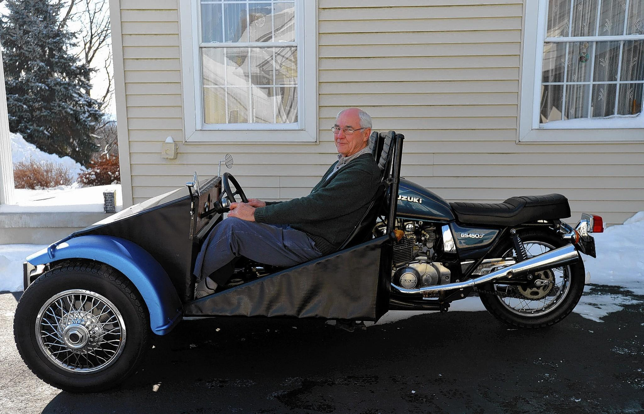 Harry Wohlbach of Macungie made a car for $700 with an old motorcycle and Volkswagen Dune Buggy.