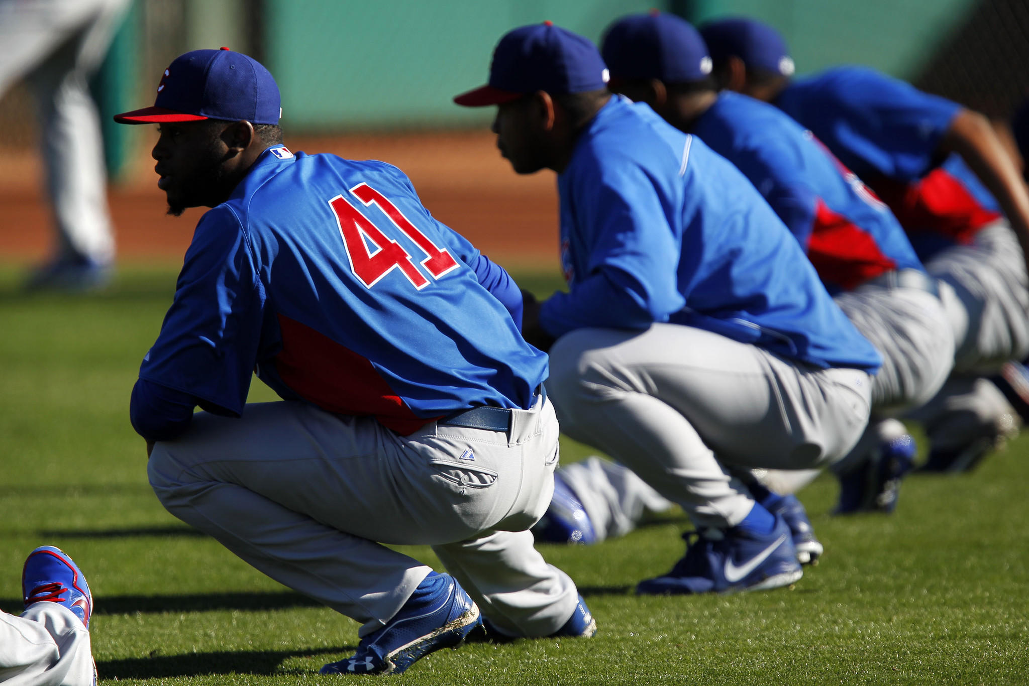Chicago Cubs relief pitcher Arodys Vizcaino (41) warms up with his teammates during Spring Training at HoHoKam Park in Mesa, Arizona on Friday, Feb. 22, 2013.