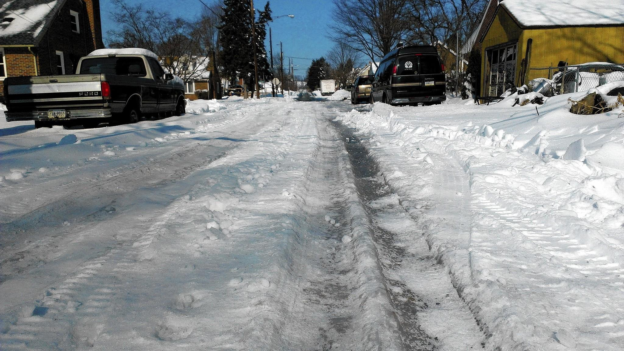 Ruts line the snowy block at the end of N. Ott Street in South Whitehall Township on Feb. 7. Residents question why the township won't plow. The township says that section was left unfinished by the developer decades ago and isn't a public street requiring public maintenance.