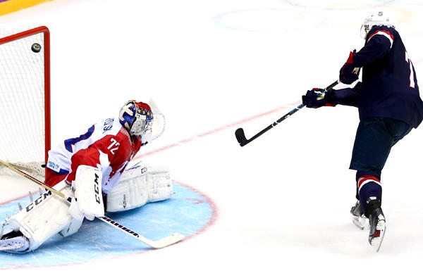 U.S. forward T.J. Oshie beats Russia goaltender Sergei Bobrovski during the shootout in a preliminary-round game at the Sochi Olympics on Saturday.