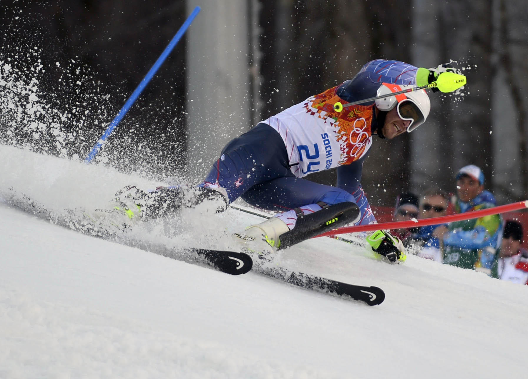 Bode Miller (USA) competes in the men's super combined slalom during the Sochi 2014 Olympic Winter Games at Rosa Khutor Alpine Center.