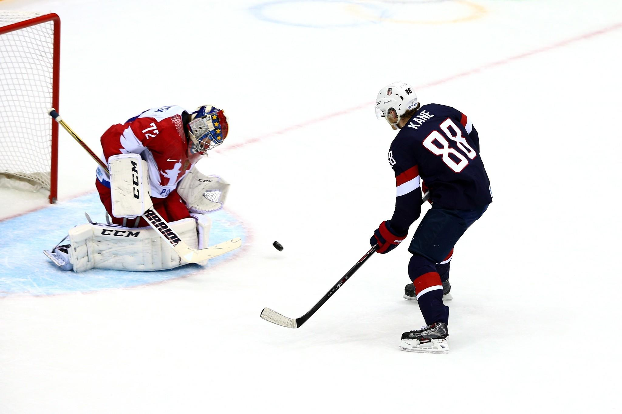 Patrick Kane (88) of the United States attempts a shot on goal against Sergei Bobrovski (72) of Russia during the Men's Ice Hockey Preliminary Round Group A game on day eight of the Sochi 2014 Winter Olympics at Bolshoy Ice Dome on February 15, 2014 in Sochi, Russia.