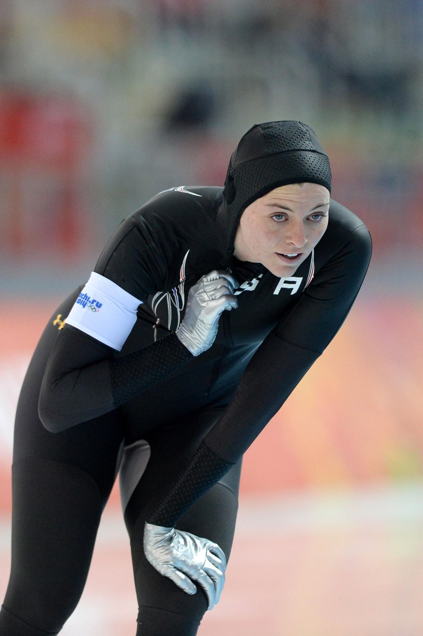 US Heather Richardson reacts after the Women's Speed Skating 1000 m at the Adler Arena during the Sochi Winter Olympics on February 13, 2014.