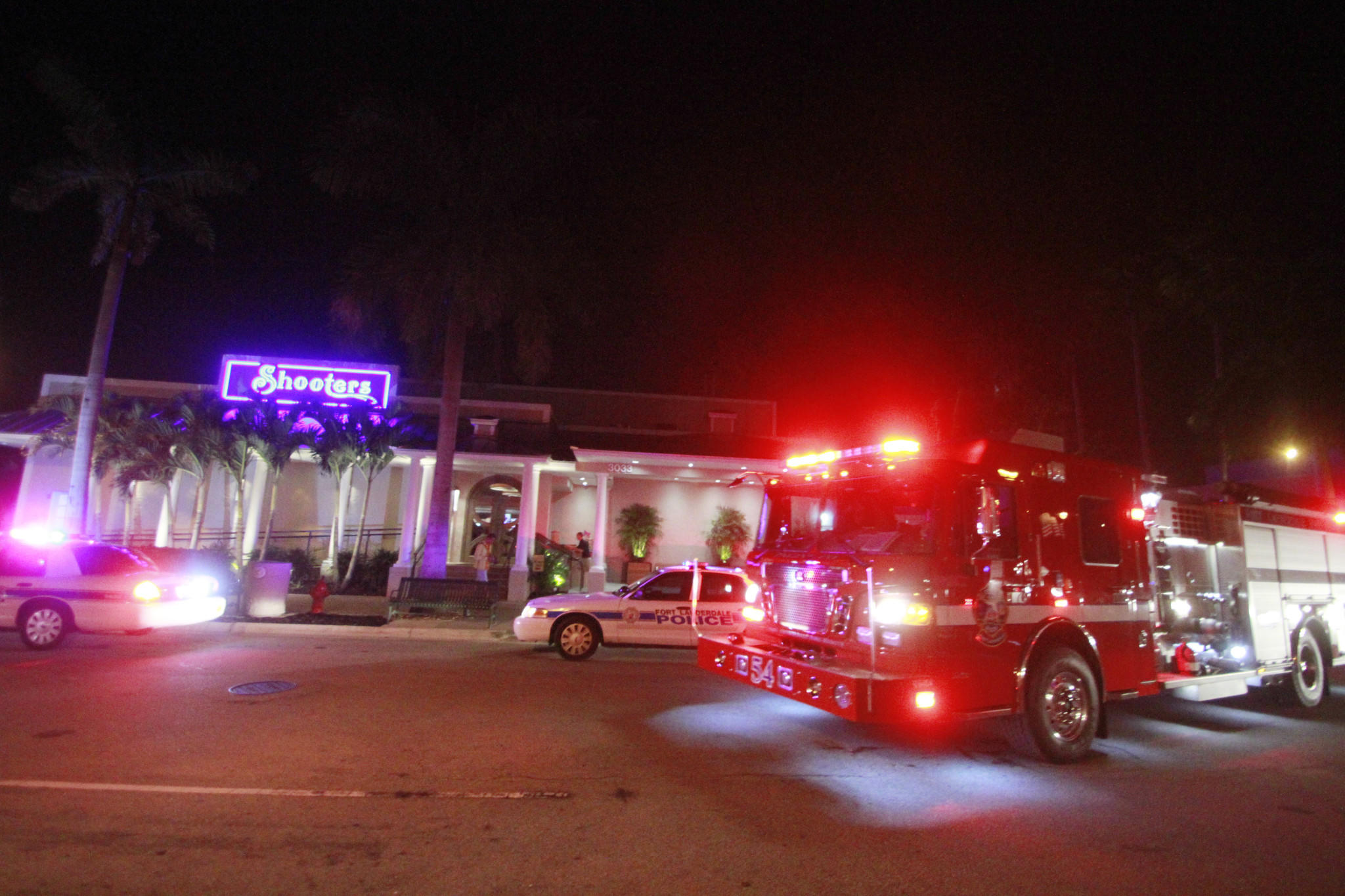 Fort Lauderdale Police investigate a shooting at Shooters Waterfront Cafe on Saturday. Police spokeswoman Det. DeAnna Greenlaw said it happened around 7:30 p.m. when the gun on a customer paying his bill fired. Detectives said the shooting appeared to be accidental.