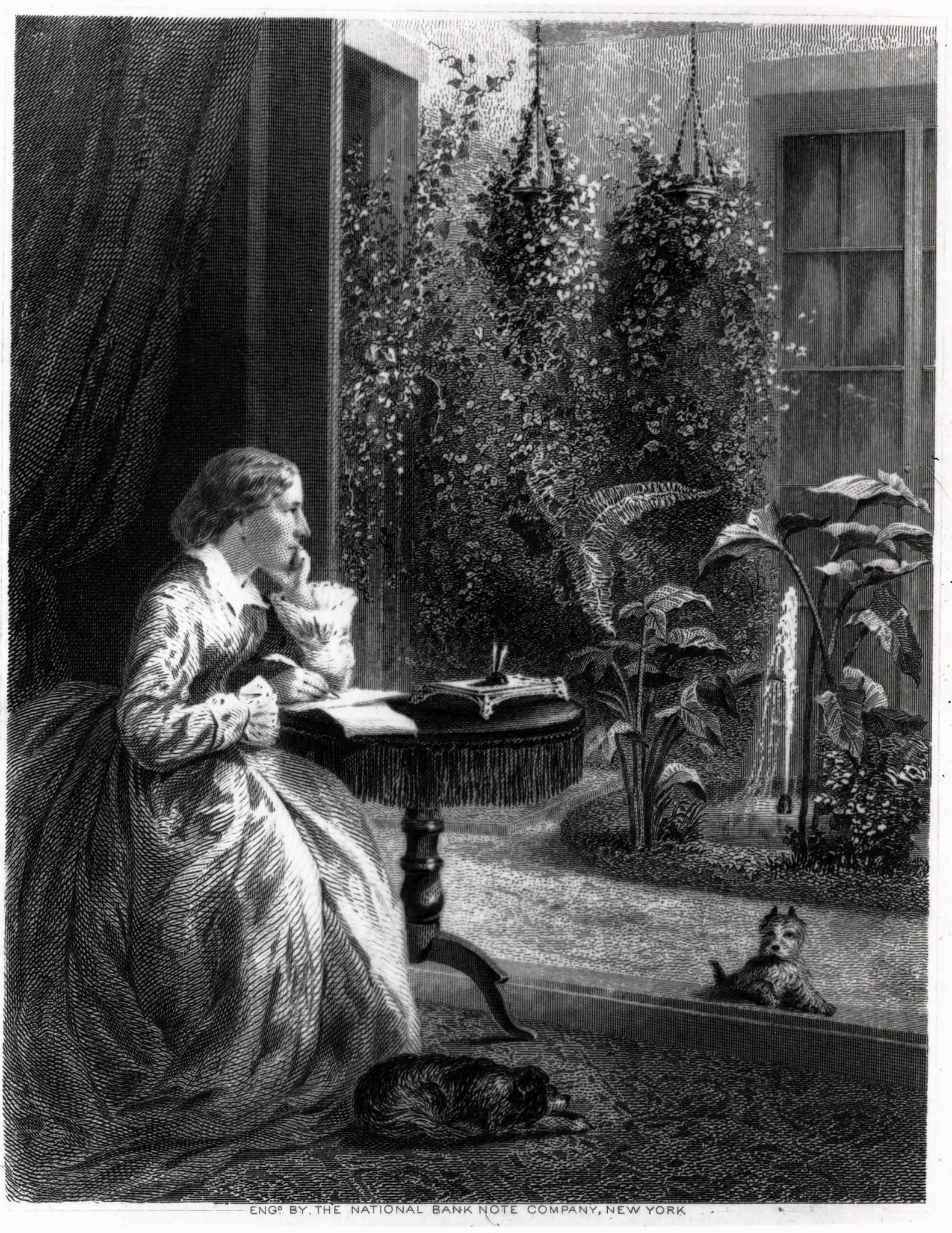 "This engraving shows Harriet Beecher Stowe writing in the conservatory of her first Hartford home in 1866. The etching was commissioned as a frontispiece for ""Our Young Folks,"" a collection of children's stories published that same year."