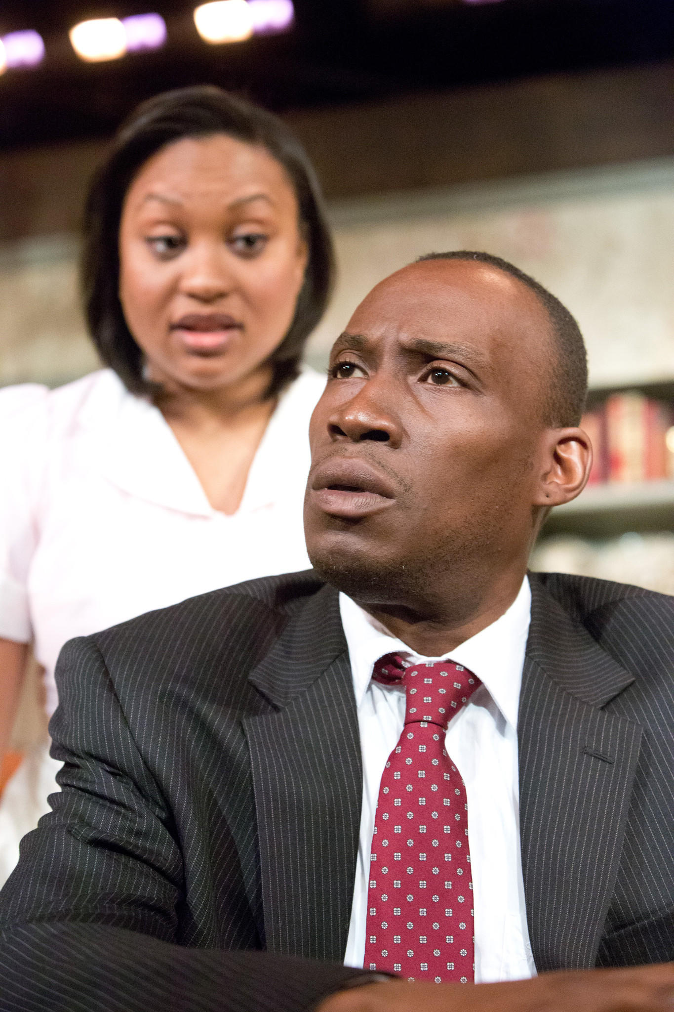 "Felichia Chivaughn and Clinton C.H. Harris star in ""The Mountaintop"" at Mad Cow Theatre."
