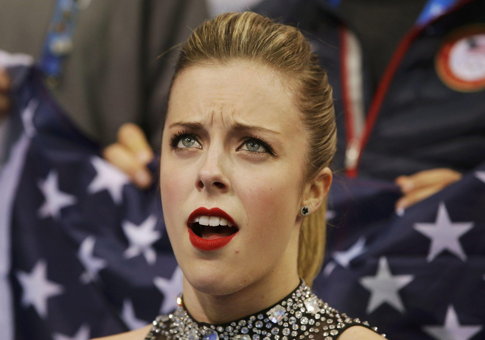 Ashley Wagner's reaction to her scores in the team event short program.