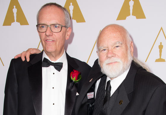 "Charles ""Tad"" Marburg, recipient of the John A. Bonner Medal of Commendation, left, and Peter W. Anderson, recipient of the Gordon E. Sawyer Award, prior to the Academy of Motion Picture Arts and Sciences' Scientific and Technical Achievement Awards."