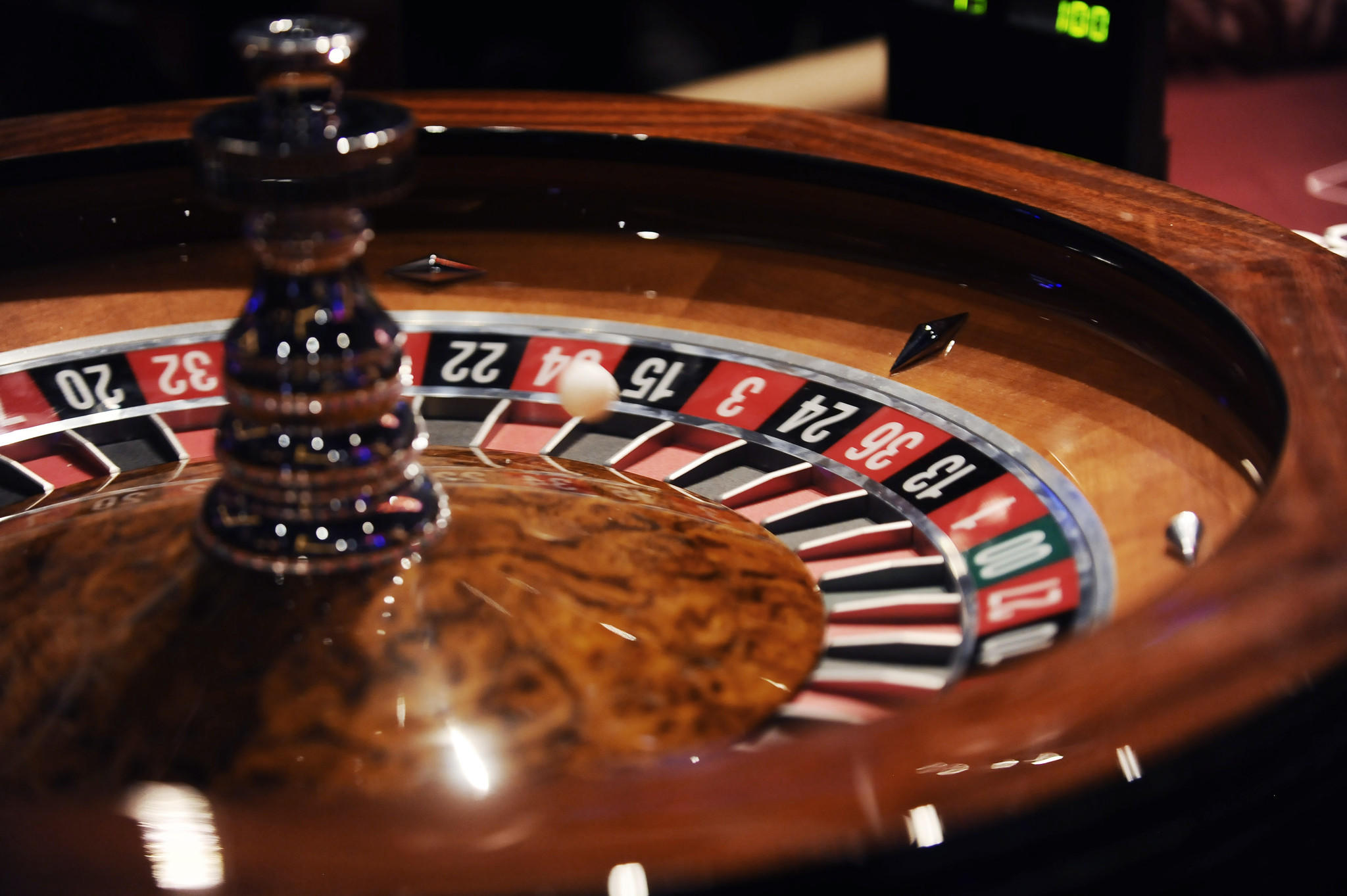 A Roulette ball drops into a number during live action table games at Maryland Live Casino.