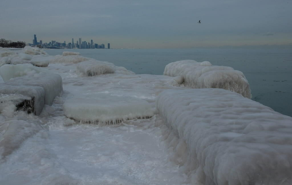 A view from Promontory Point in Hyde Park during extremely cold weather in Chicago on Jan. 7, 2014.