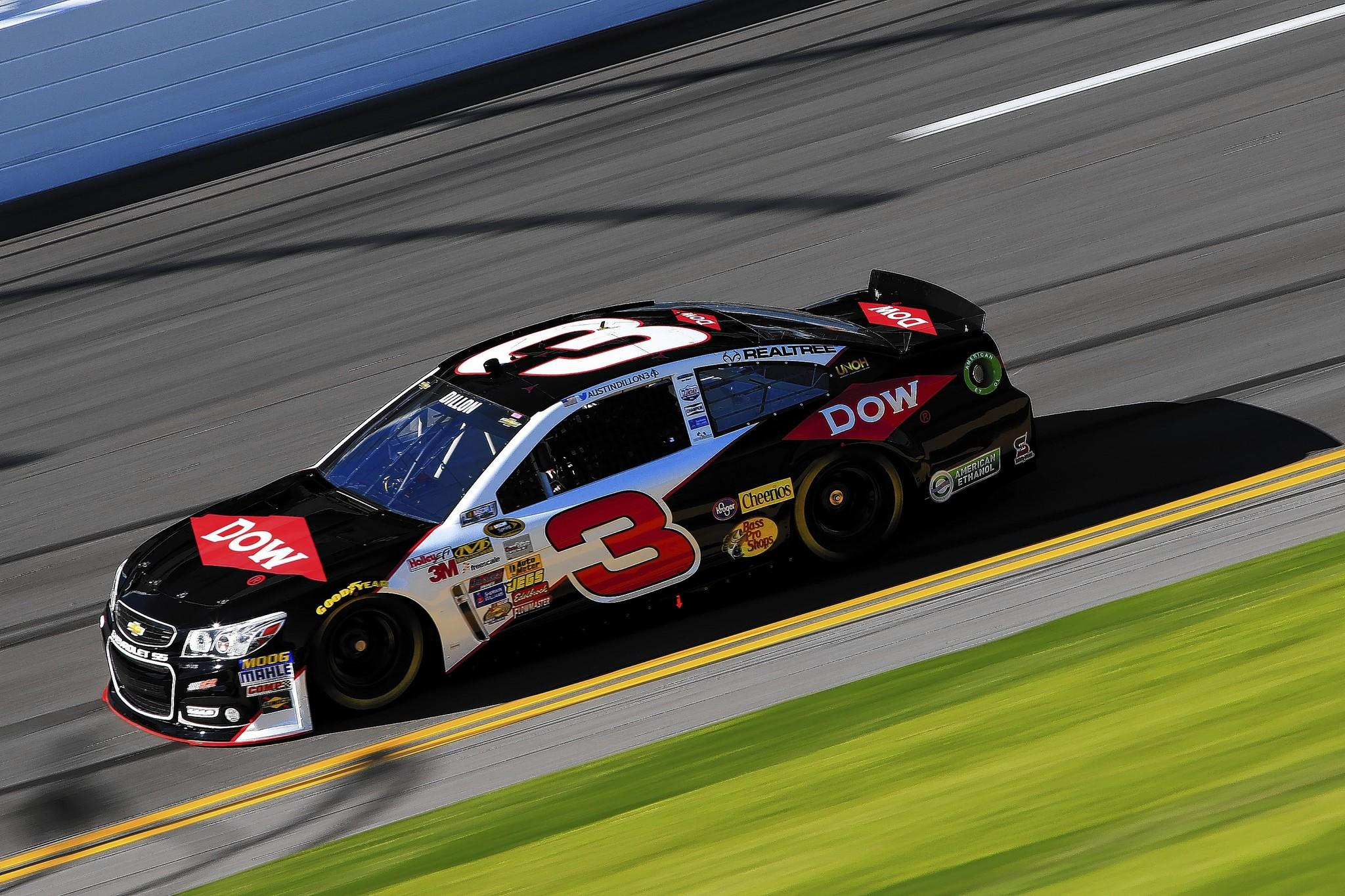Austin Dillon, driver of the No. 3 DOW Chevrolet, qualifies for pole position for the Daytona 500 at Daytona International Speedway.