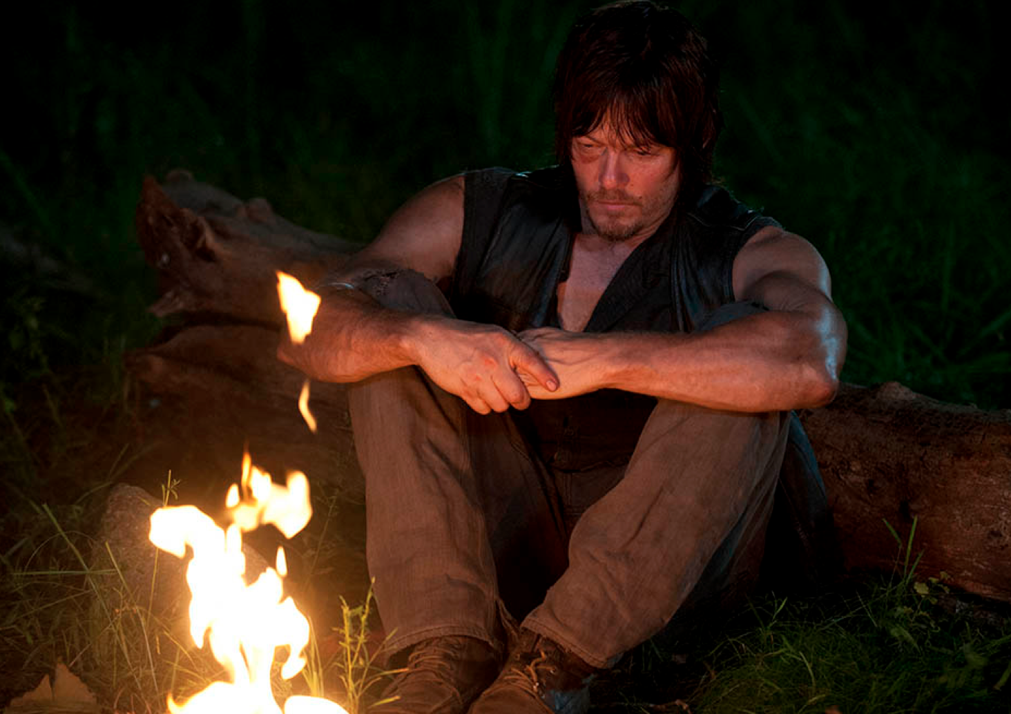 Daryl has all of the ingredients for S'mores except for marshmallows, chocolate and graham crackers ... and a stick.