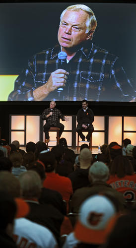 Orioles manager Buck Showalter, left, and executive vice president Dan Duquette answer questions during FanFest at Baltimore Convention Center.
