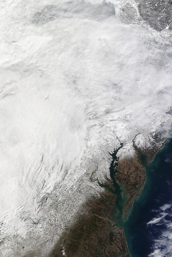Snow cover over the Chesapeake Bay region as of Sunday.