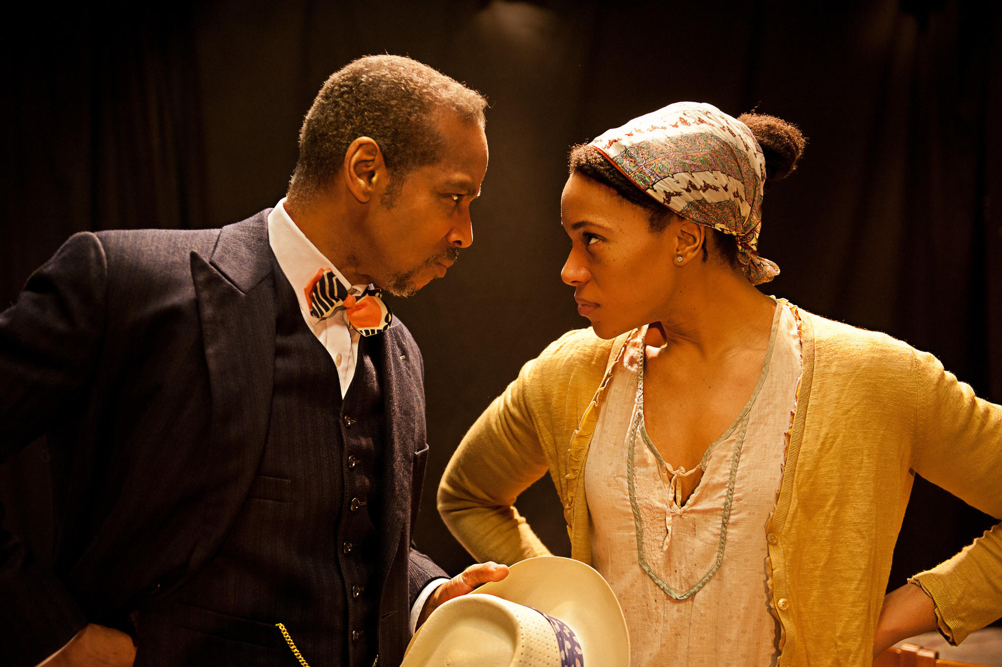 Kevyn Morrow (Henry Higgins) and Geri-Nikole Love (Eliza Doolittle) in the world premiere of Higgins in Harlem at West Hartford's Playhouse on Park.