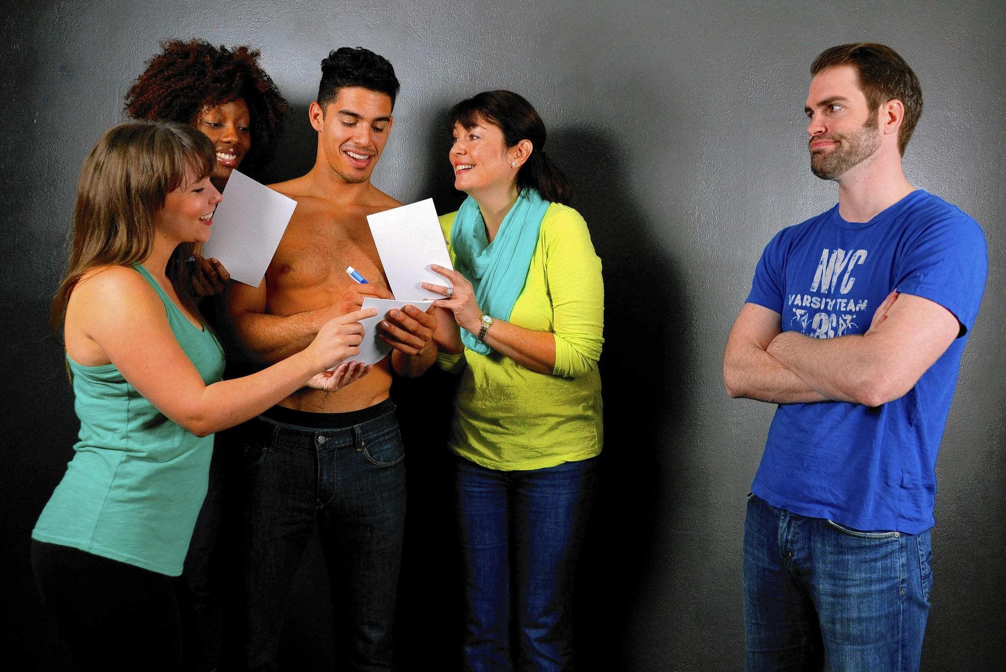 Courtney Poston, Crystal Anderson, Michael Orozco, Dalia Feldman and Preston Ellis run lines during rehearsal for The Full Monty at The Wick in Boca Raton.