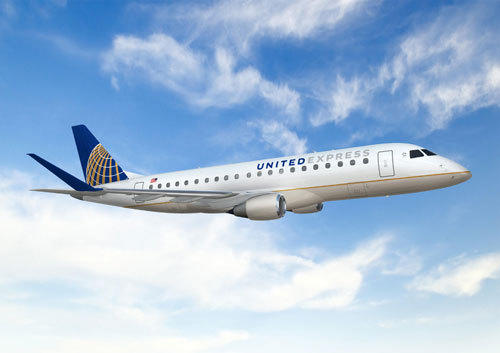 United will use a new 76-seat Embraer 175 aircraft on regional flights operated by SkyWest.