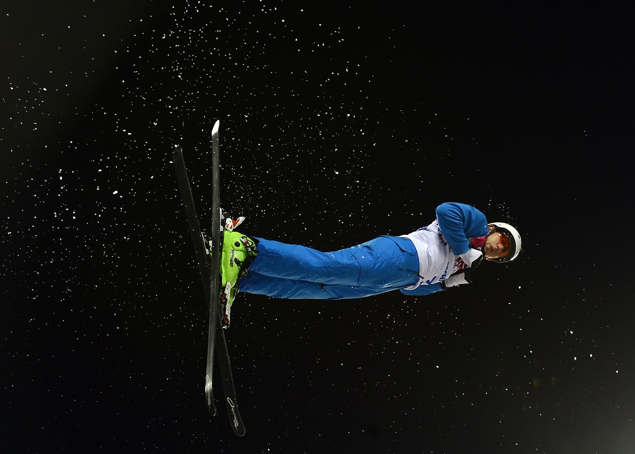 Belarus' Anton Kushnir competes in the Men's Freestyle Skiing Aerials finals.