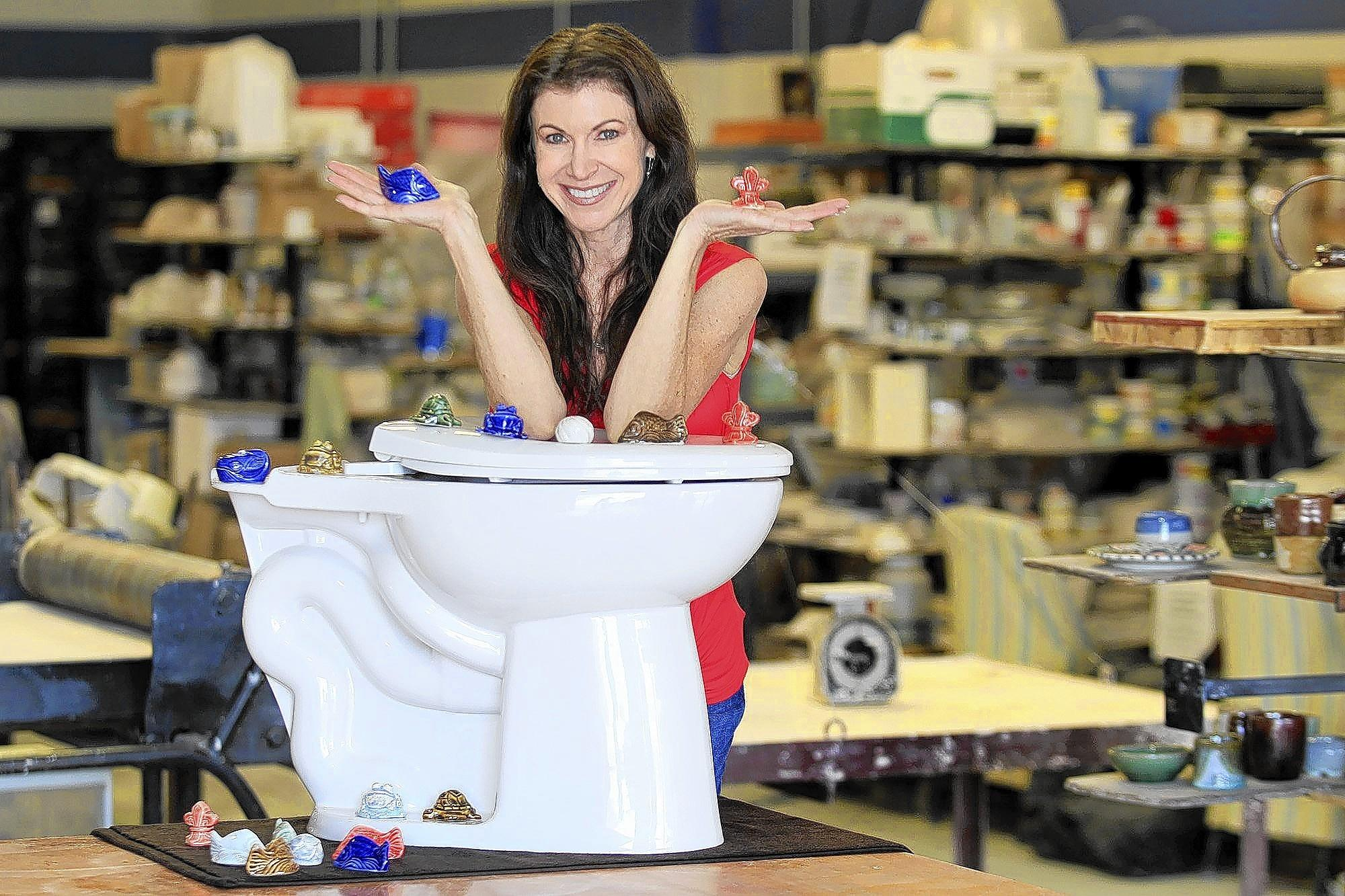 Laguna Niguel artist Stephanie Wirkkala created Jewels for the Loo, a decorative line of ceramic bolt covers for toilets.
