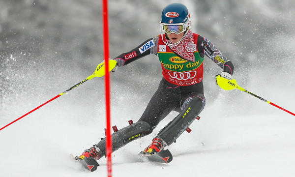 American Mikaela Shiffrin competes during a World Cup slalom event in Slovenia on Feb. 2. Shiffrin is among the favorites to win gold in Tuesday's giant slalom.