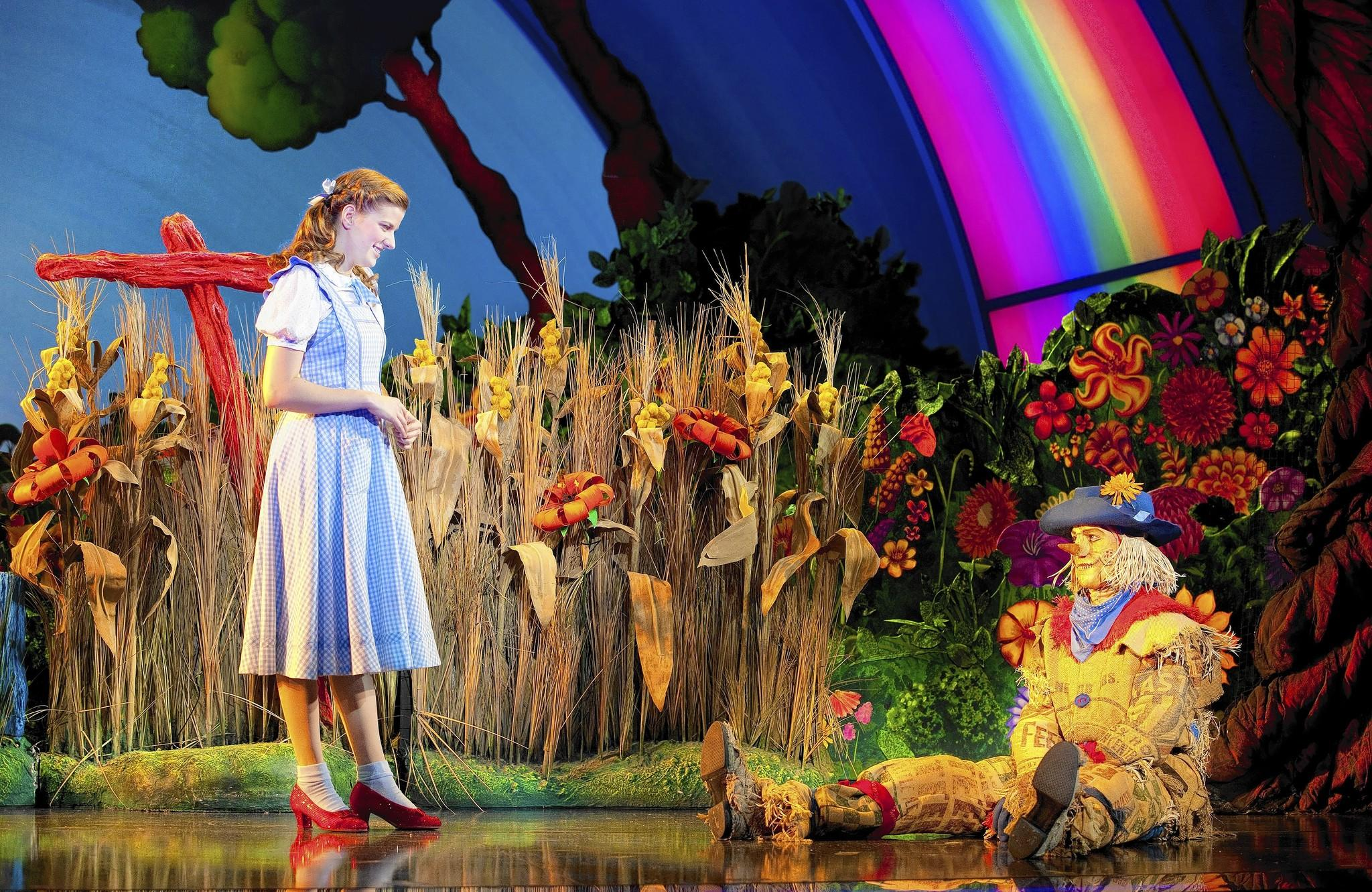 "Danielle Wade as Dorothy and Jamie McKnight as Scarecrow in ""The Wizard of Oz."""
