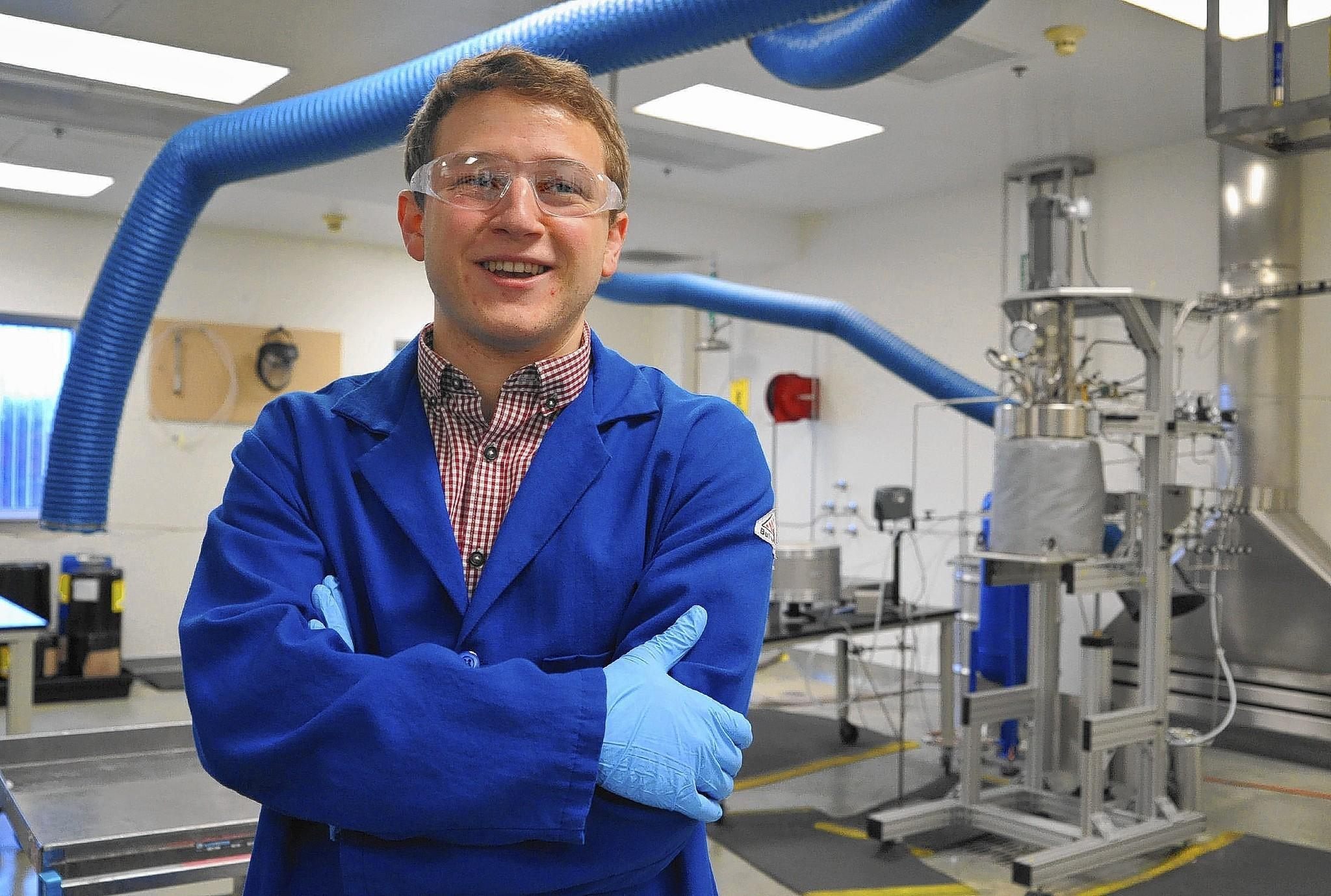 Peter DiPrinzio, 22, a graduate of Middlebury College, began a two-year job through Venture for America, at Pixelligent, a startup which makes advanced materials for electronic devices.