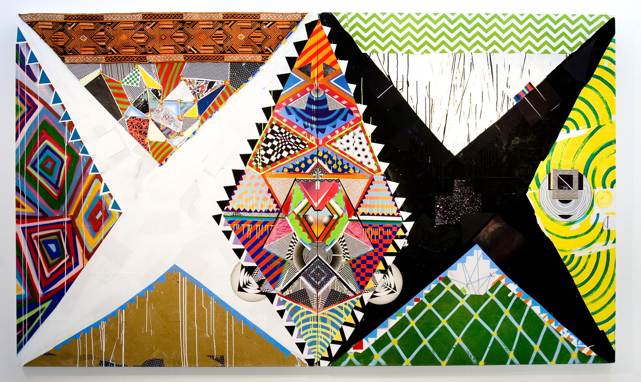 """A Brian Porray work titled """"  4Nti EV1L-EY3  ,"""" 2013, synthetic polymer, spray paint, paper, fabric and colored pencil on canvas, 80 by 136 inches."""