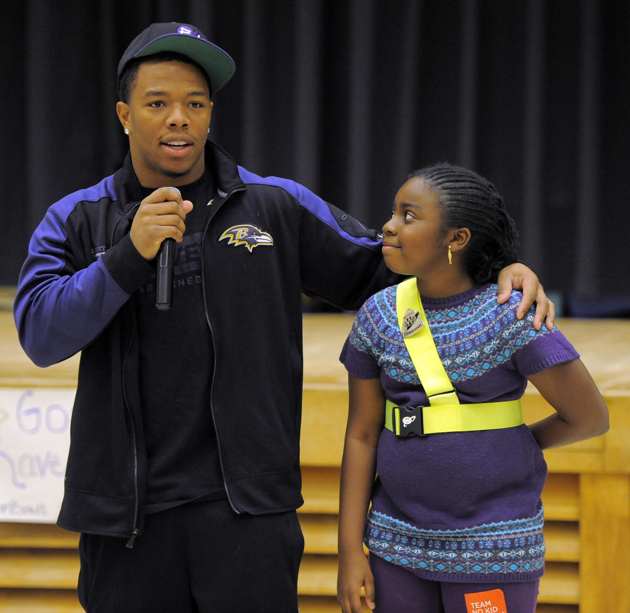 Ray Rice is one of the Ravens' most active players in the community. In this photo from November, he answers a question from a fifth-grader at Hilltop Elementary School in Anne Arundel County.