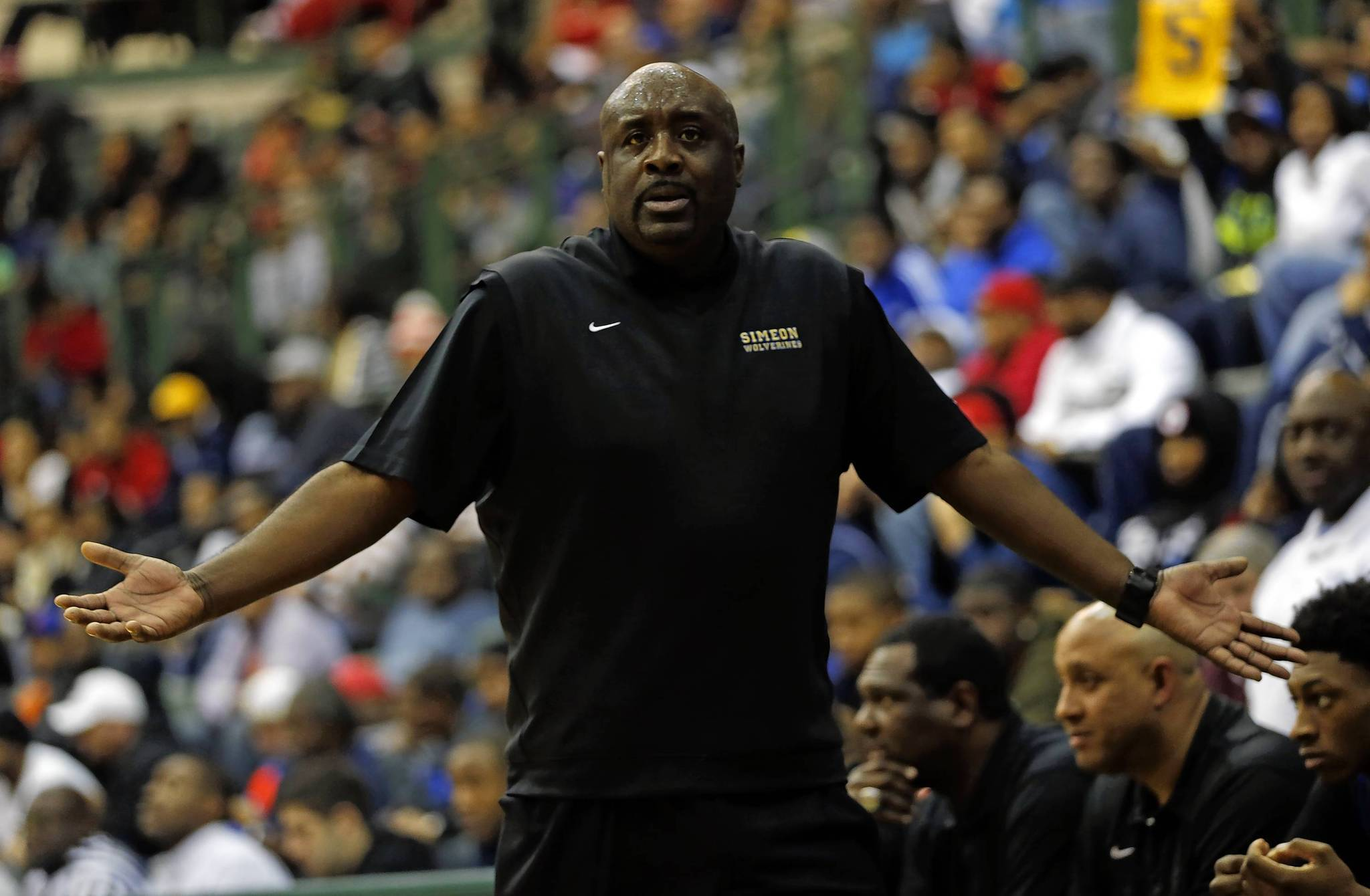 Simeon head coach Robert Smith reacts to an official's call in the fourth quarter.