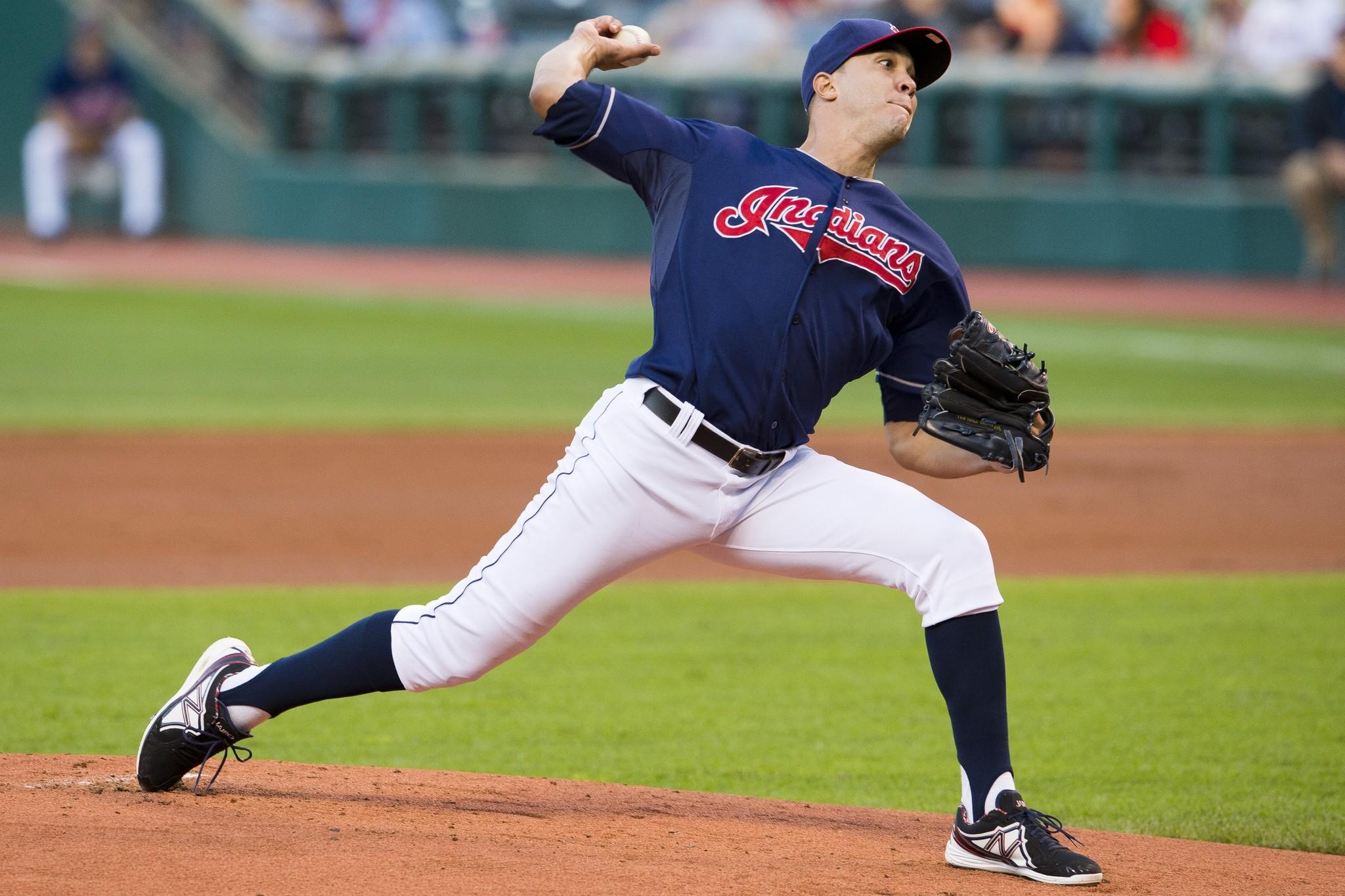 Pitcher Ubaldo Jimenez throws a pitch against the Orioles while a member of the Cleveland Indians in September.