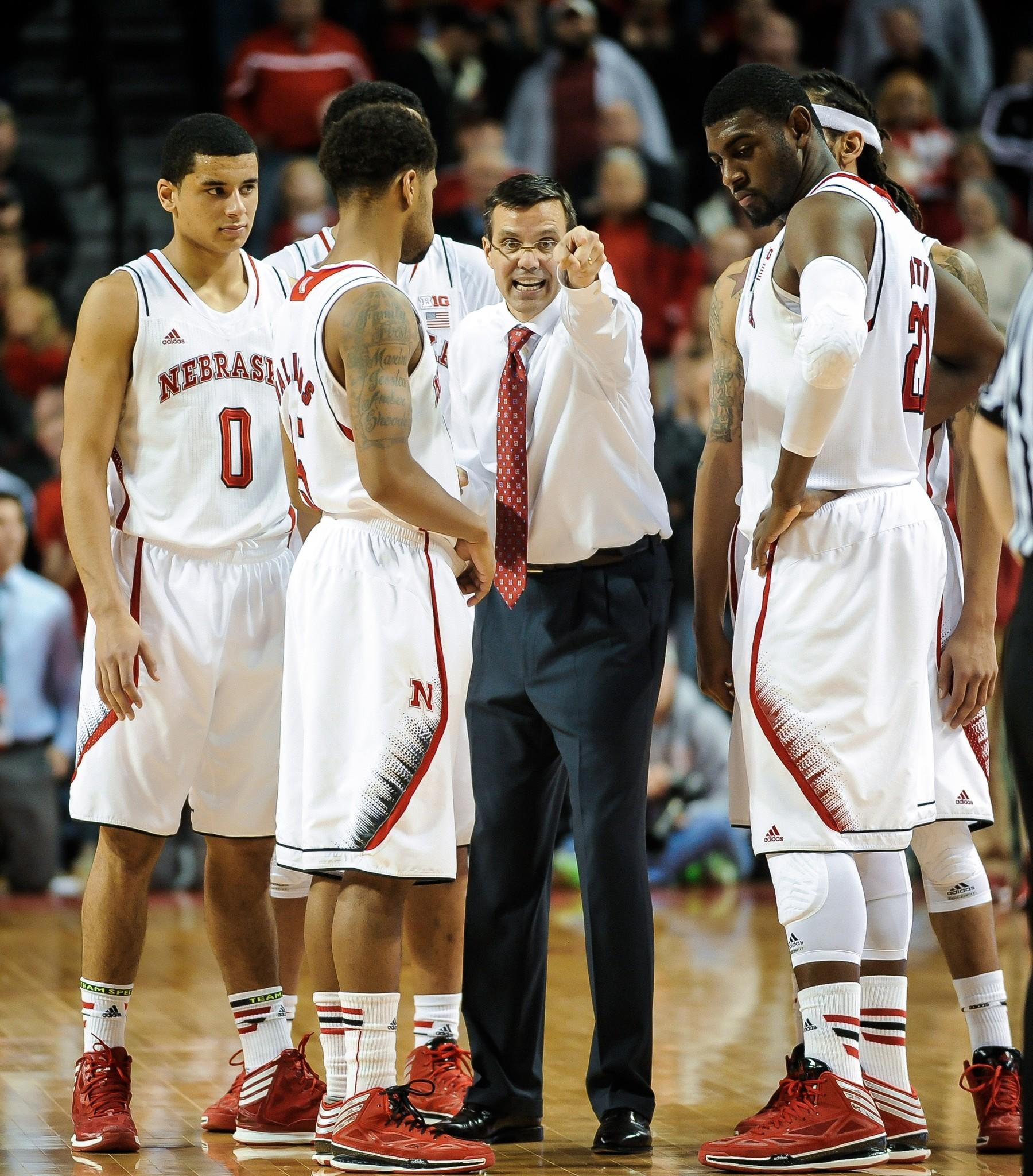 Nebraska coach Tim Miles directs his team during a game against Indiana.